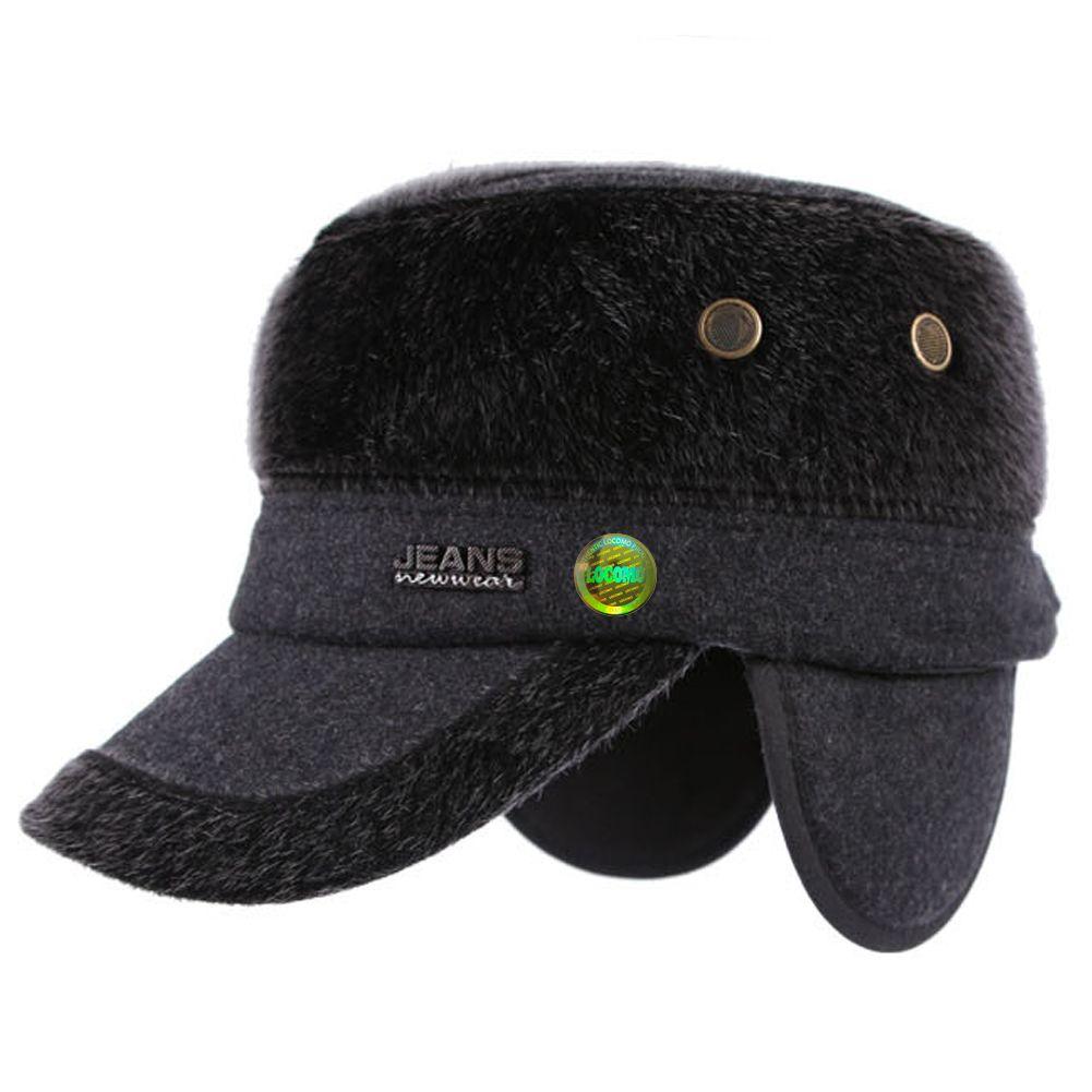 Men Winter Warm Fur Gray Folding Ear Flap Warmer Flat Cap ... 02bc3e4a3cd1
