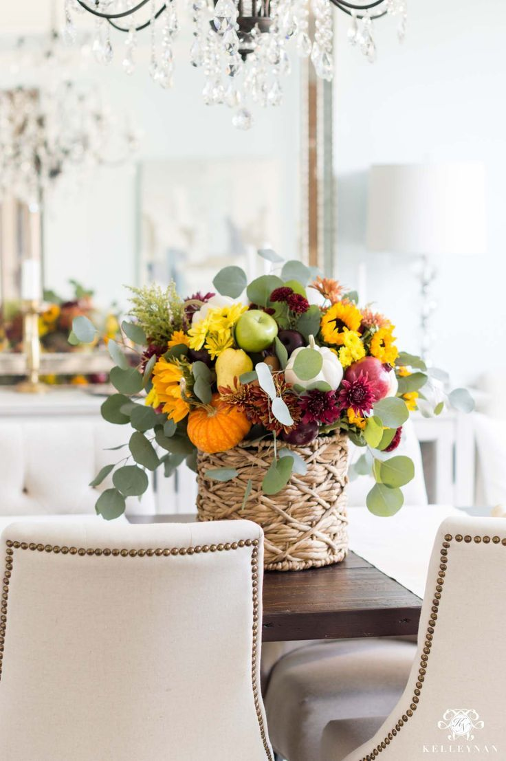 Fall harvest floral arrangement centerpiece tutorial easy