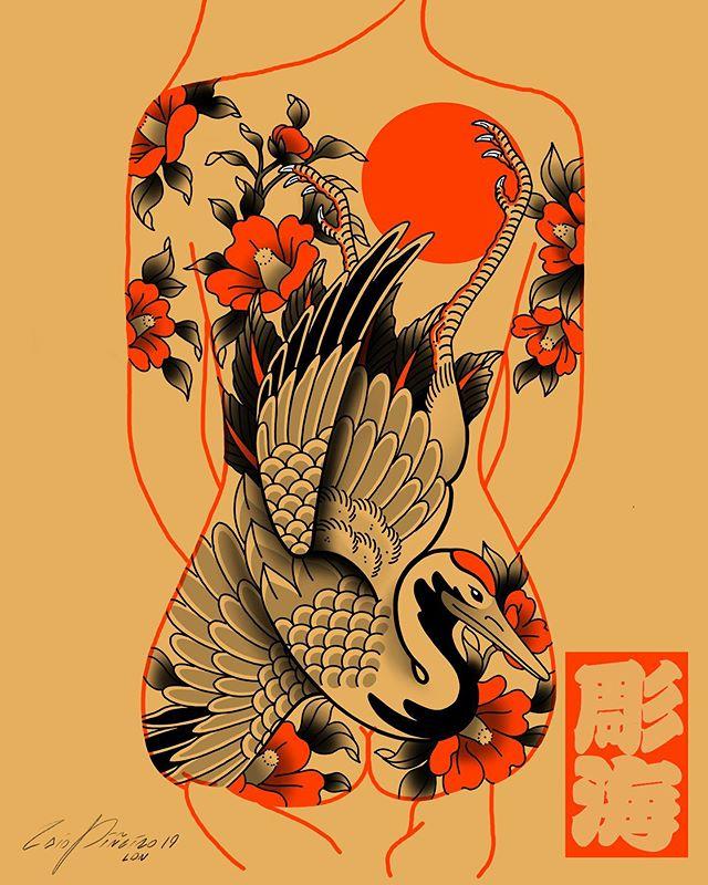 """彫海 • HORIKAI • CAIO PIÑEIRO on Instagram: """"#tsuru #crane #backpiece available for tattoo • You can find me @kokorotattoolondon🇬🇧 & @kokorotattoosp🇧🇷 • Bookings…"""""""