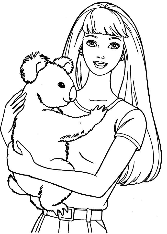 Barbie With Koala Coloring Pages Barbie Dolls Cartoon Coloring