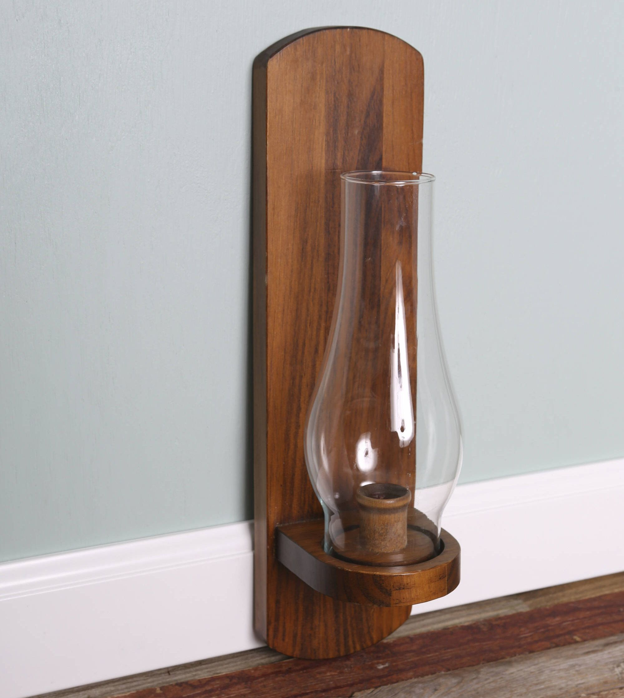Vintage Wood Wall Tall Candle Holder Taper Colonial Wall Sconce with
