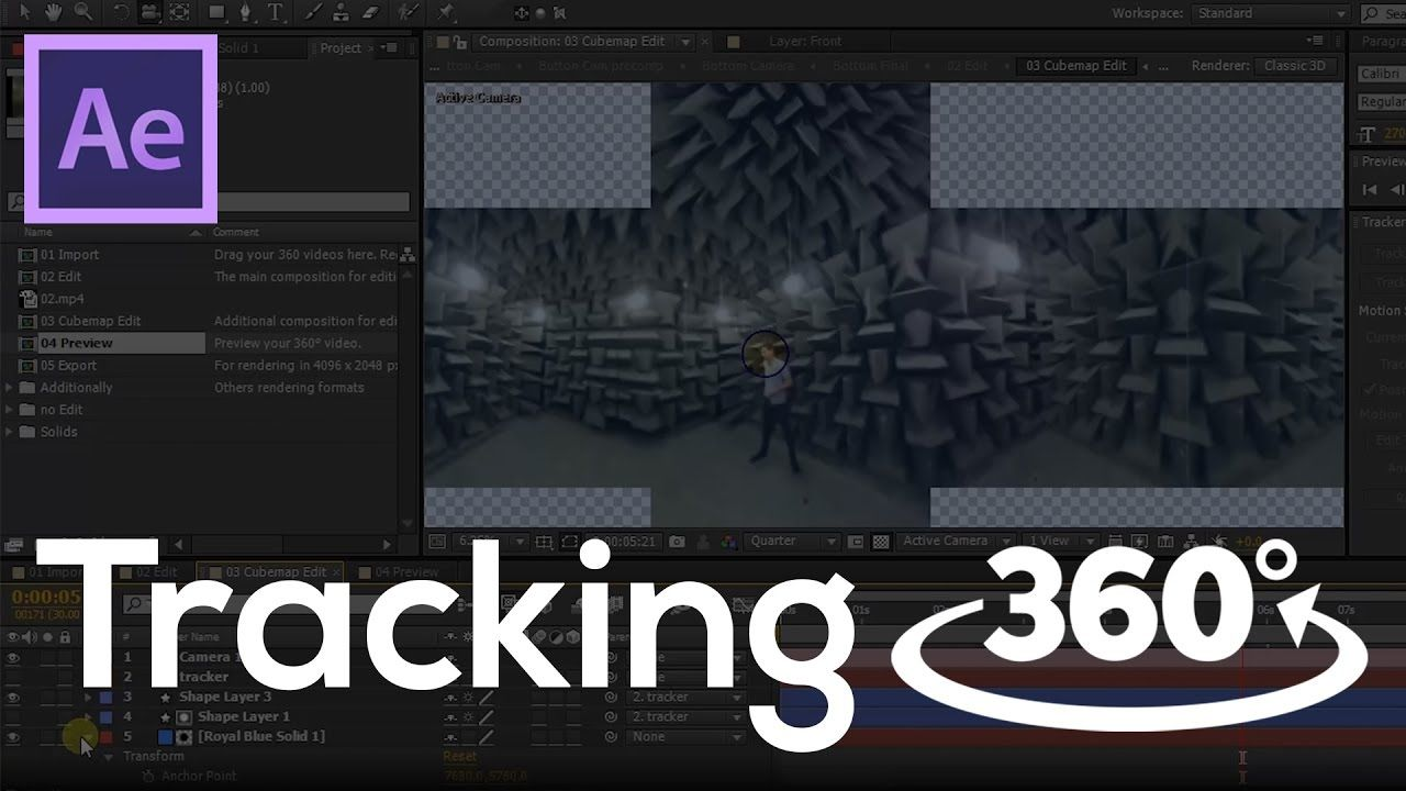 How to add Motion Graphics in 360 degree video  Tracking VR  After