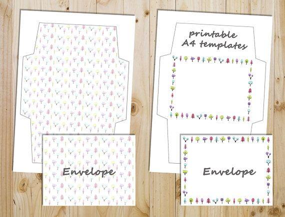 printable writing paper watercolor tree pattern downloadable