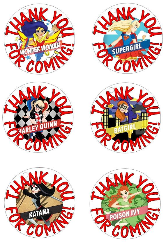 DC Superhero Girls Printable Tags