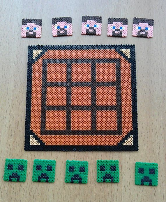 Unofficial Minecraft Inspired Creepers and Steve's Game - Novelty Gift made with Hama Mini Beads by PixelBeadPictures