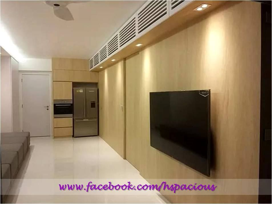 Residential TV Feature Wall With Louver Panel Storage. Tv Feature WallLiving  SpacesTv Panel