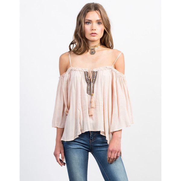7271e91de4caf8 Cold Shoulder Boho Top (87 ILS) ❤ liked on Polyvore featuring tops ...