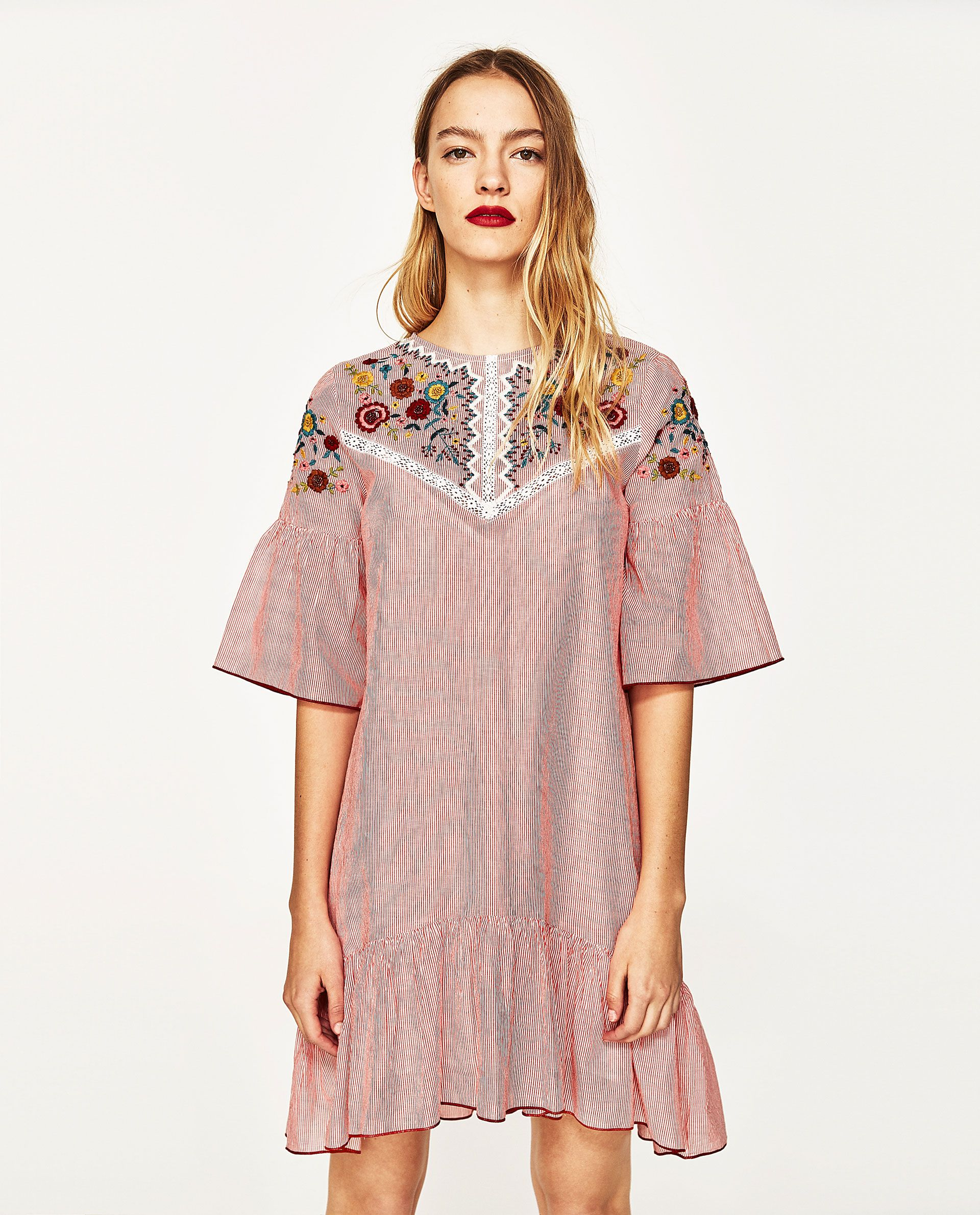 f32f14ddc11801 ZARA PINK EMBROIDERED STRIPED DRESS