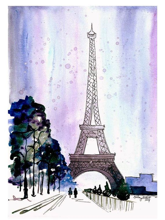 Snow Covered Paris Watercolor Painting Print Eiffel Tower Home