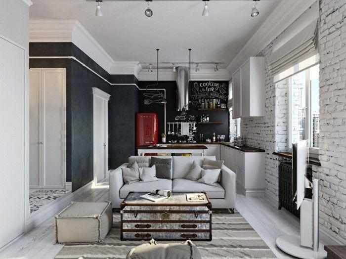 Wohnzimmer Kühlschrank ~ Wohnzimmer lampen industrieller look ziegelwand heller holzboden