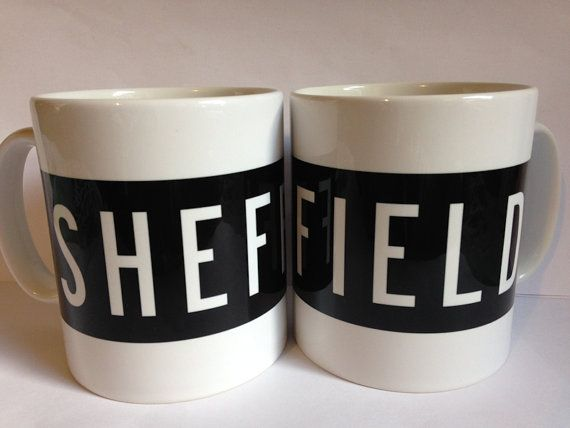 Sheffield Mug in the style of vintage bus blinds, fully customiseable with any name
