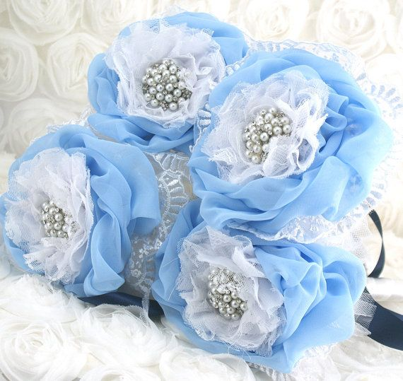 tulle bouquet blue | Bridesmaids Brooch Bouquet in White, Navy Blue and Powder Blue with ...