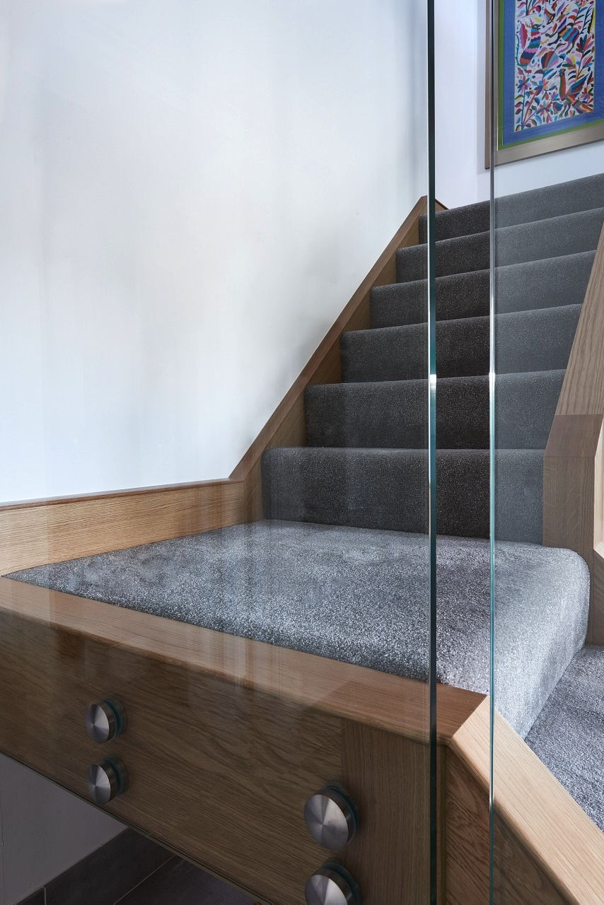 Infinity Integral Glass And Wood Renovation With Metal Railings And Grey  Carpet. New Staircase Design