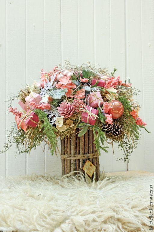 Купить Розовый зимний букет - розовый, зимняя ффлористика, зимний букет, подарок, корпоративный подарок