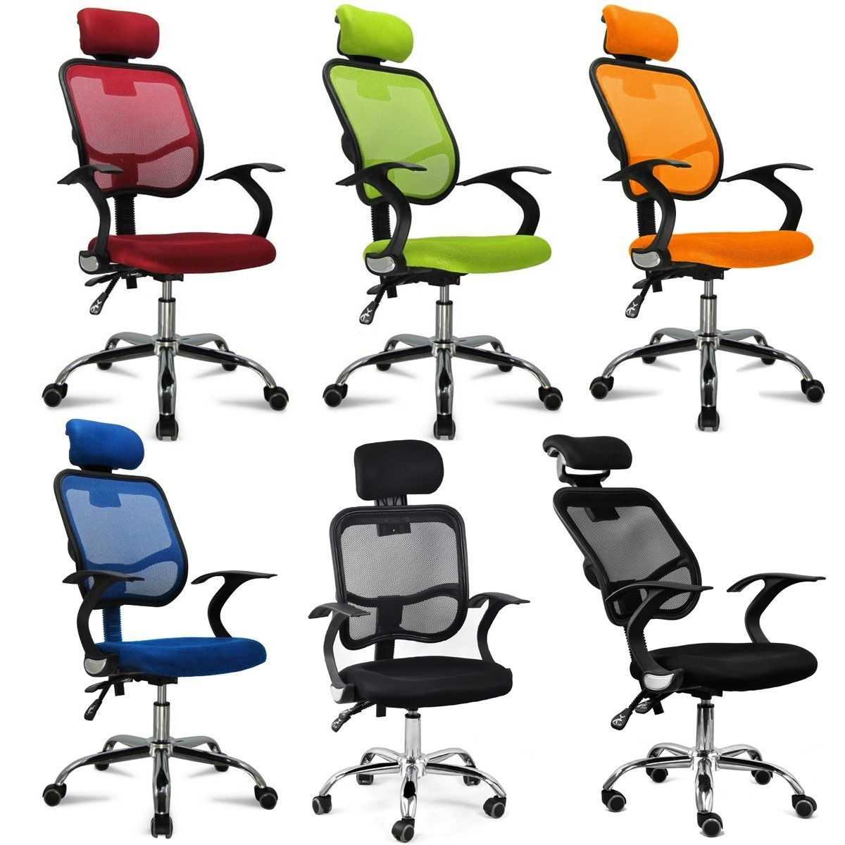 Adjustable Chrome Executive Office Computer Desk Chair Mesh Seat Fabric |  EBay