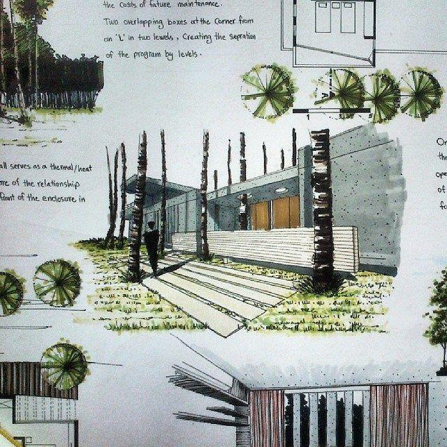 Visualisierung Architektur Skizzenbuch Skizze Skizzen Design Landschaftsskizze Moderne Marker Perspektive
