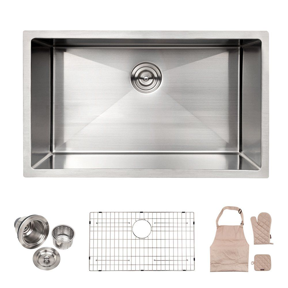 Lordear Commercial 32 Inch 16 Gauge 10 Inch Deep Brushed Nickel
