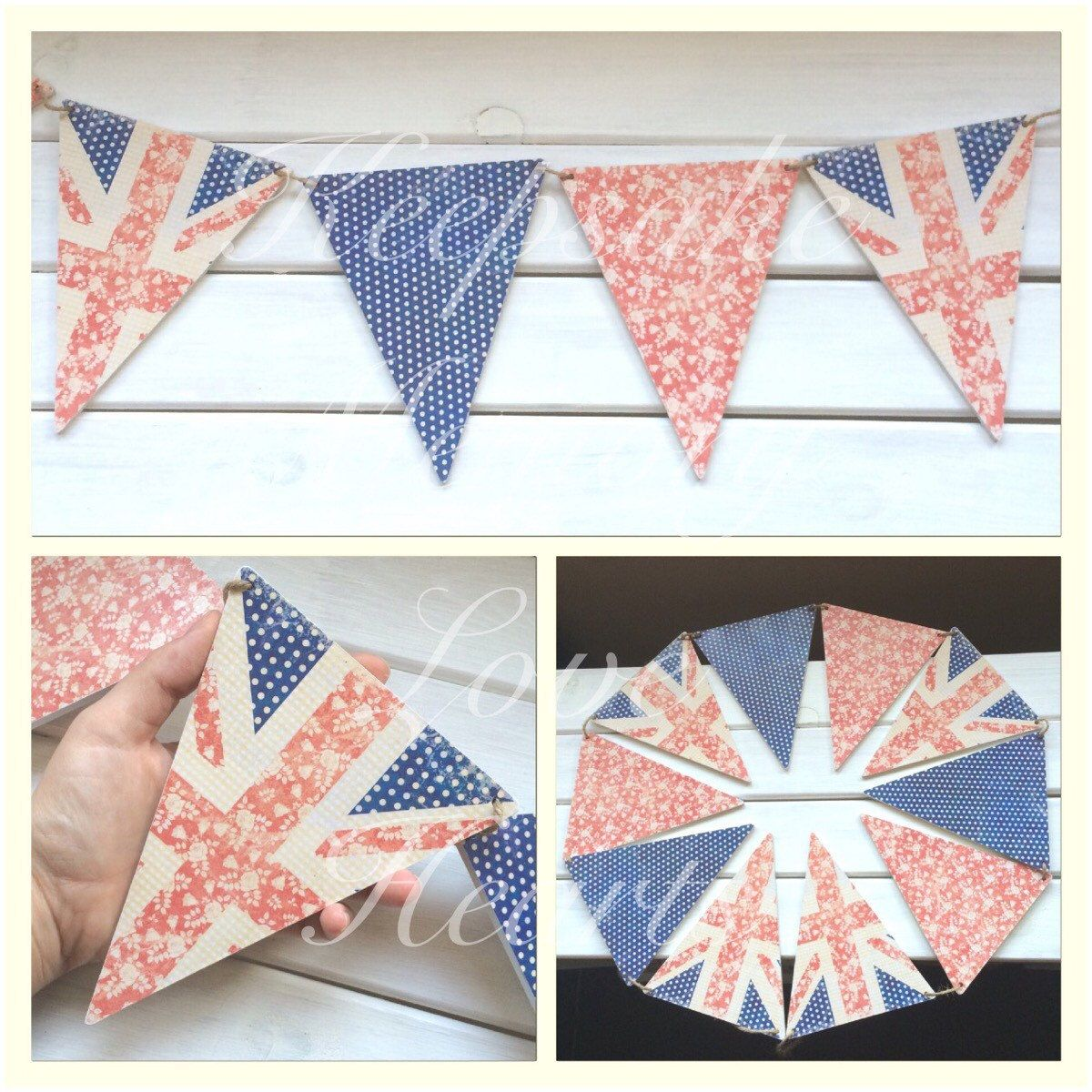 Union Jack wooden bunting decor - pinned by pin4etsy.com