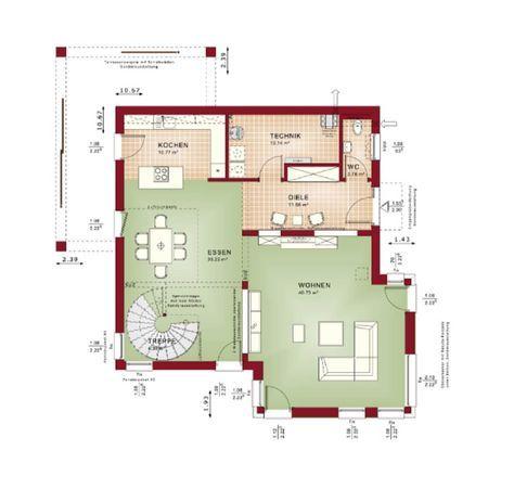 GRUNDRISS STADTVILLA Concept-M 193 Bien Zenker * Modernes - küche mit kochinsel grundriss