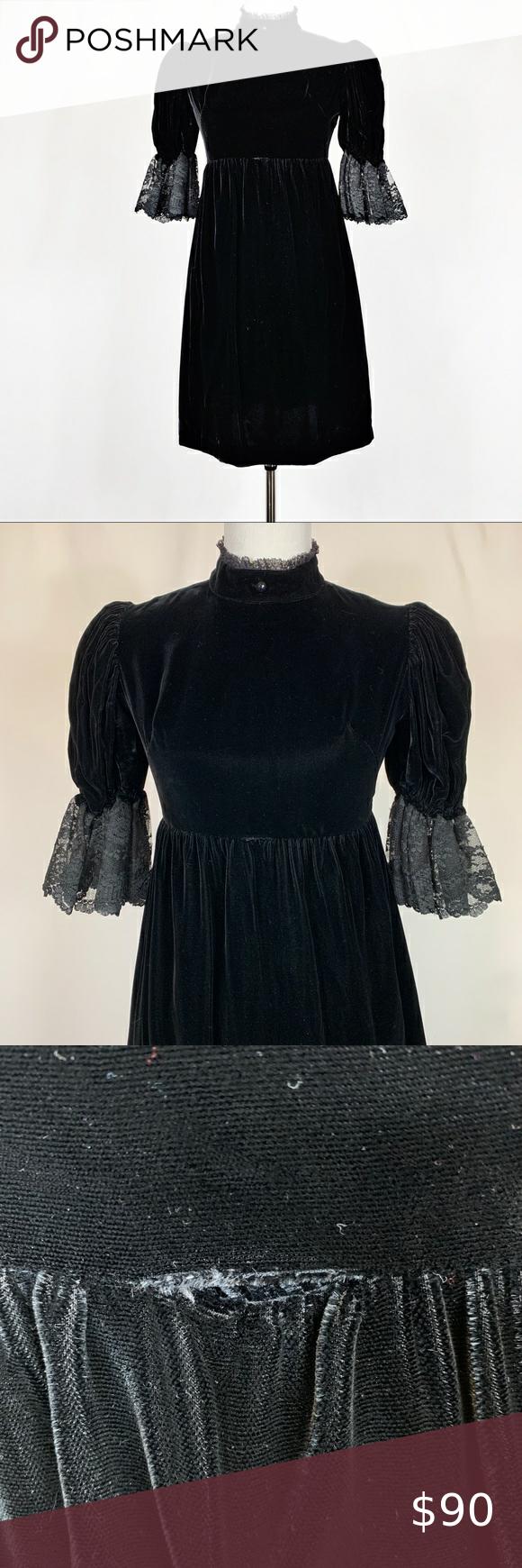 Vintage 70s Black Velvet Empire Babydoll Dress M L Size No Size But About A M L Measurements Approx Bust 17 Babydoll Dress Vintage Dresses Babydoll Style [ 1740 x 580 Pixel ]