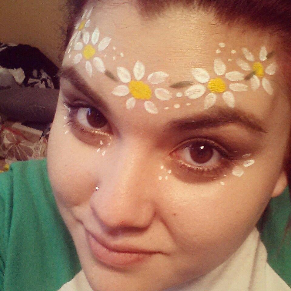 Flower hippie face paint Okc makeup artist Miranda