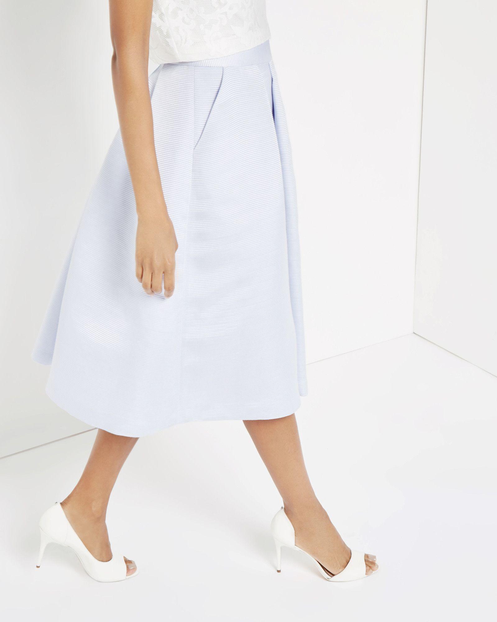 8c95d2b665e3f High waisted ribbed midi skirt - Blue