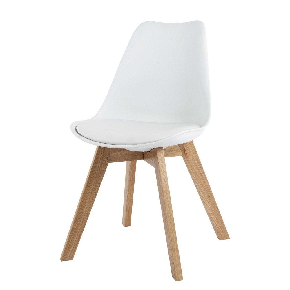 Weisser Skandinavischer Stuhl Mit Massiver Eiche Chaise Style Scandinave Chaise Maison Du Monde Chaise De Bureau Blanche