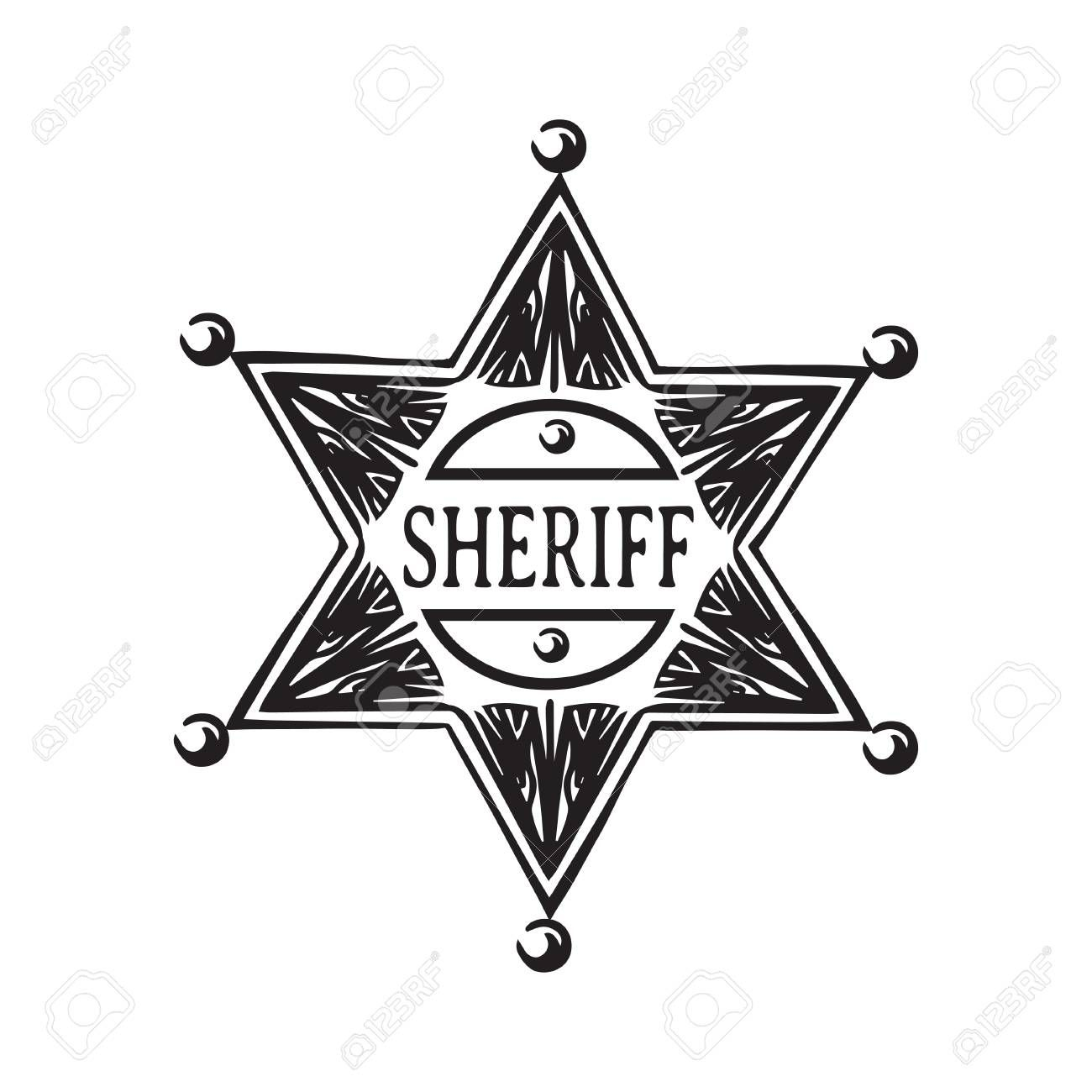 Hand drawn sheriff star. Old wild west badge vector