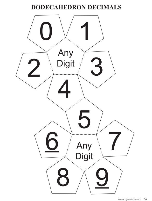Dodecahedron Decimals Math Worksheets And Activities On Place