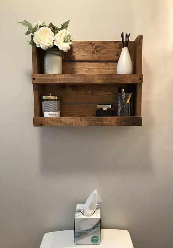 Farmhouse Rustic Bathroom Shelf Decor, Country Bathroom Shelves