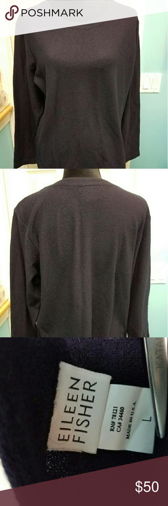 Eileen Fisher blue wool sweater size large | Blue wool, Eileen ...