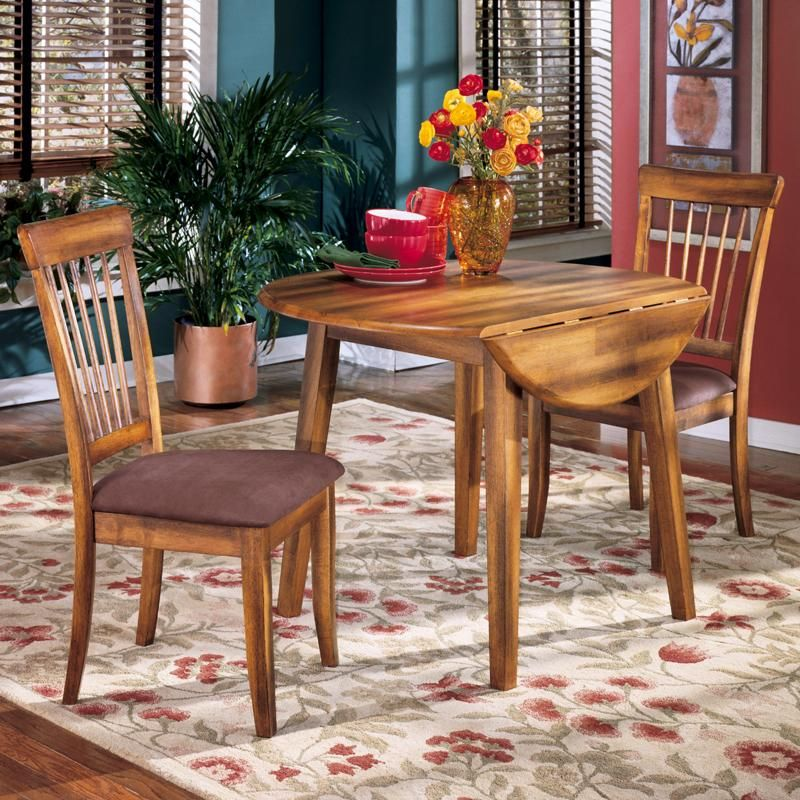 Ashley Furniture Berringer 3 Piece Drop Leaf Table U0026 2 Upholstered Side  Chairs   Dunk