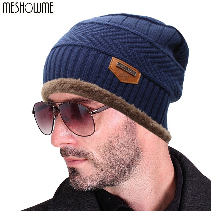 2f90d6d396c Beanies Knit Men s Winter Hat Caps Skullies Bonnet Winter Hats For Men  Women Beanie Fur Warm Baggy Wool Knitted Hat