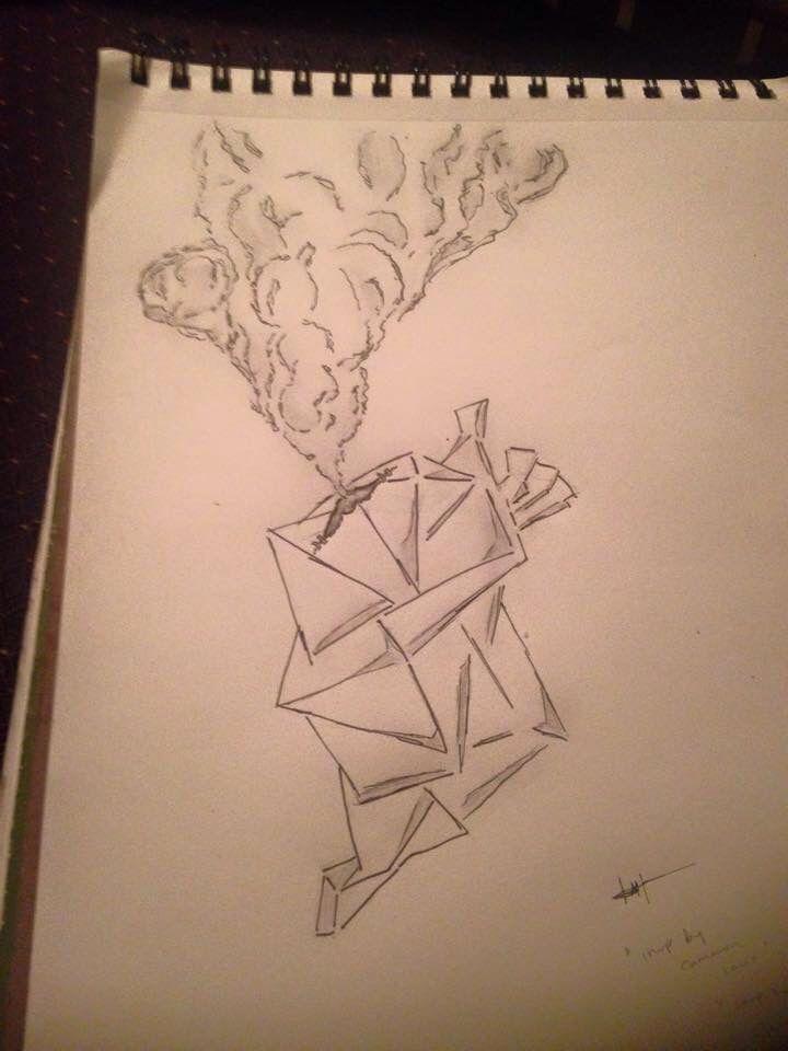 Broken Heart Of Steel Art Smoke Hearts Drawing Graphite Cubism 3d