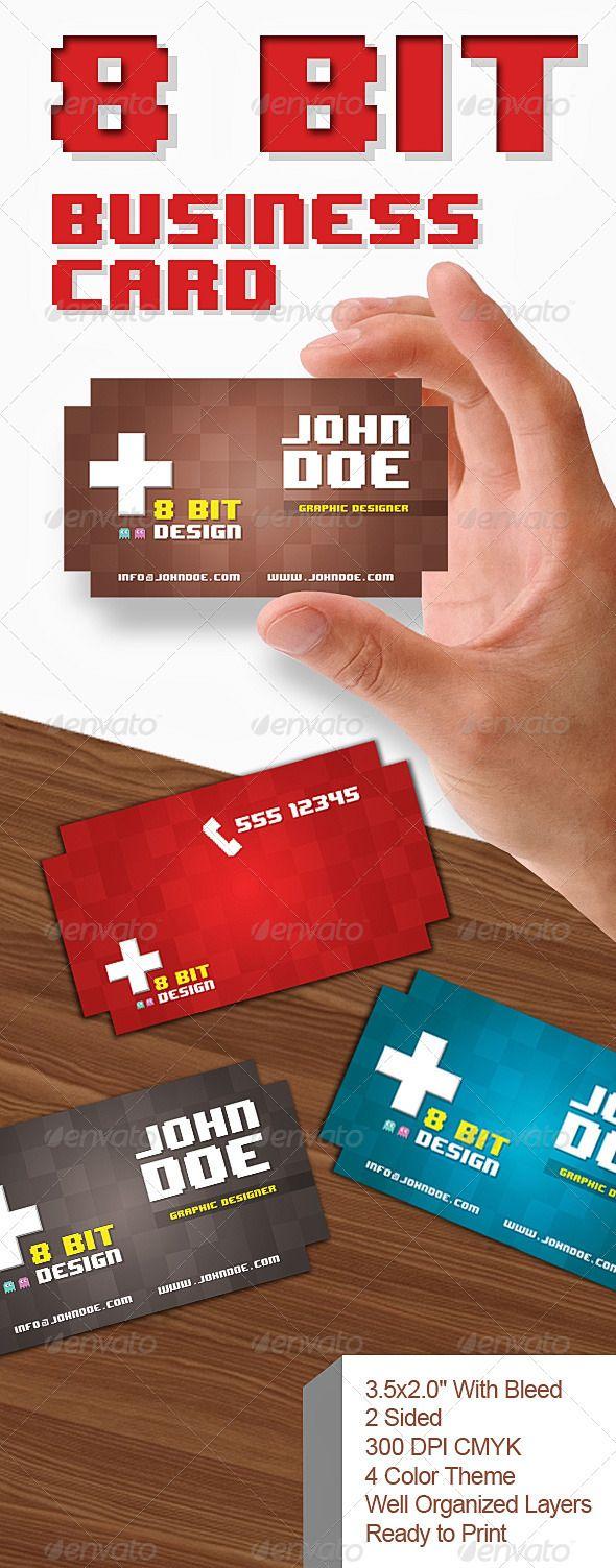 8 Bit Business Card Business Card Template Cool Business Cards Business Cards