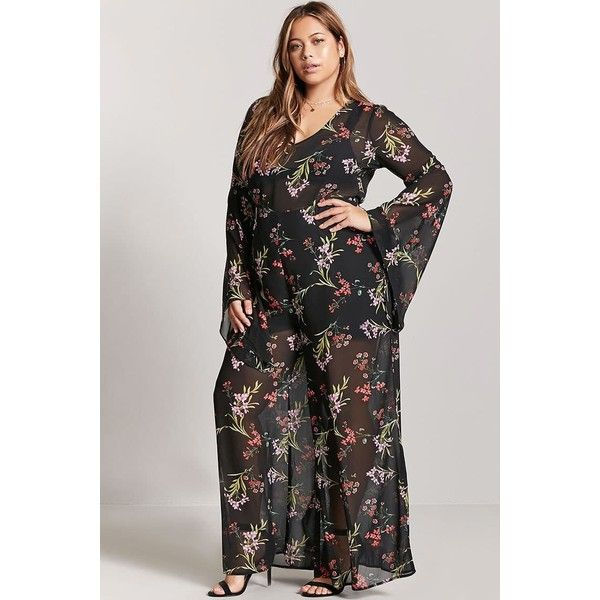 ef4079121791 Forever21 Plus Size Floral Bell-Sleeve Jumpsuit featuring polyvore plus  size women s fashion plus size clothing plus size jumpsuits forever 21  forever 21 ...