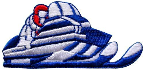 """[Single Count] Custom and Unique (3"""" by 1 1/2"""" Inches) Winter Sports Racing Snowmobile Iron On Embroidered Applique Patch {Blue, White, and Red Colors} mySimple Products http://www.amazon.com/dp/B014RP0MYM/ref=cm_sw_r_pi_dp_xnUJwb0Y9XVNW"""