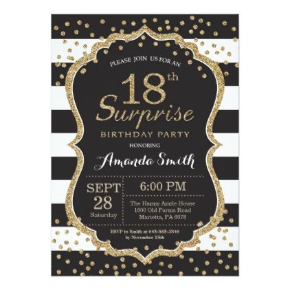 Surprise 18th Birthday Invitation Gold Glitter Card Glitter cards