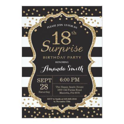 Surprise 18th Birthday Invitation Gold Glitter Invitation Zazzle Com Den Rozhdeniya Prazdnik Zoloto