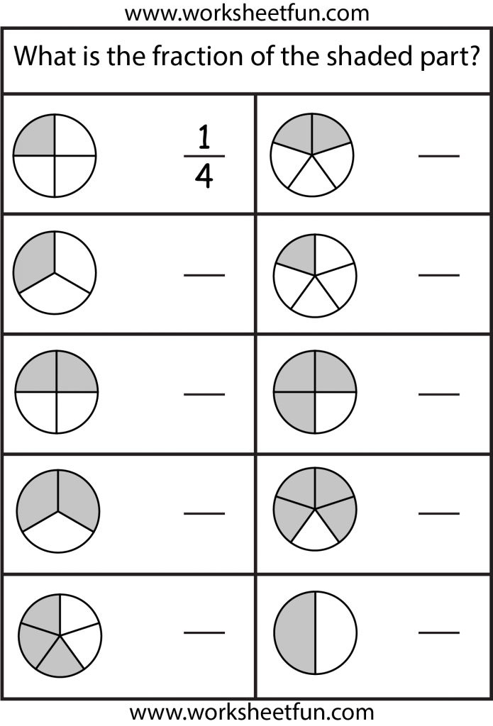 fractions 2nd grade math worksheets, Math fractions