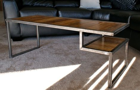 Industrial Steel Bamboo Coffee Table Play Haus Design Cleveland
