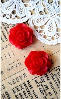 Lot de 2 Roses 16 mm couleur rouge pour bijoux et scrapbooking