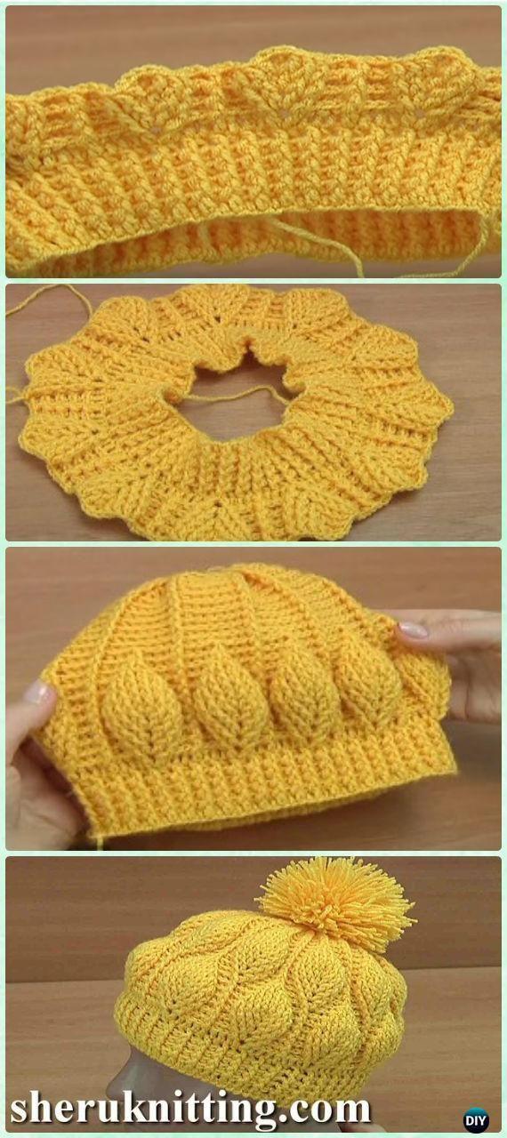 e89e954e1734f Crochet 3D Embossed Leaf Beanie Free Pattern  Video  - Crochet Beanie Hat  Free Patterns