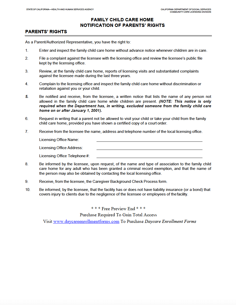 Notification Of Parents Rights Http Www Daycareenrollmentforms
