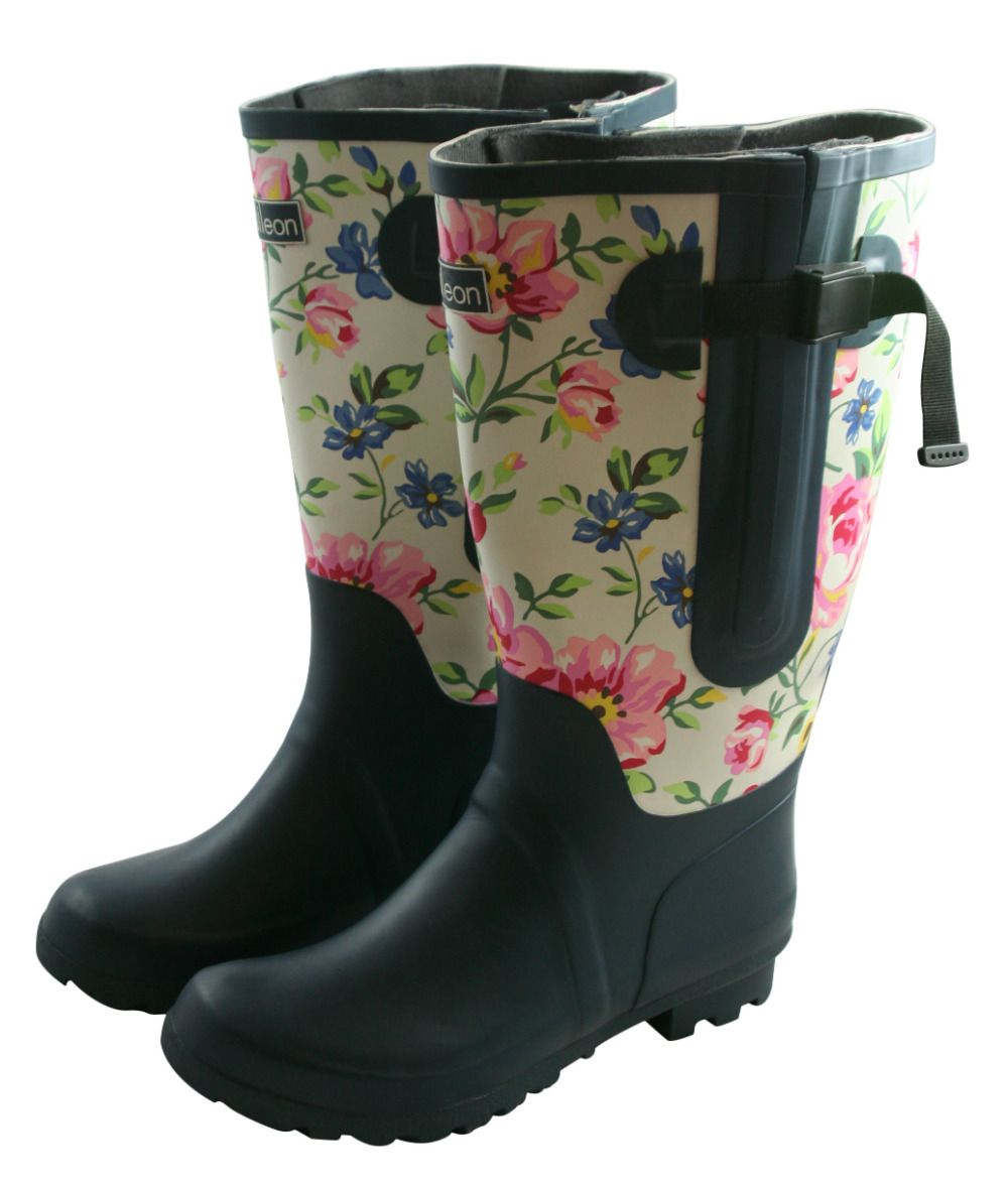 Jileon Wellies - Extra Wide Fit 2 Tone Floral Blue Wellies ...