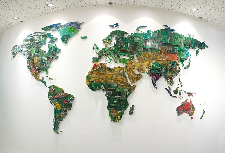 World map computer parts susan stockwell installation recycle world map computer parts susan stockwell installation recycle gumiabroncs Choice Image
