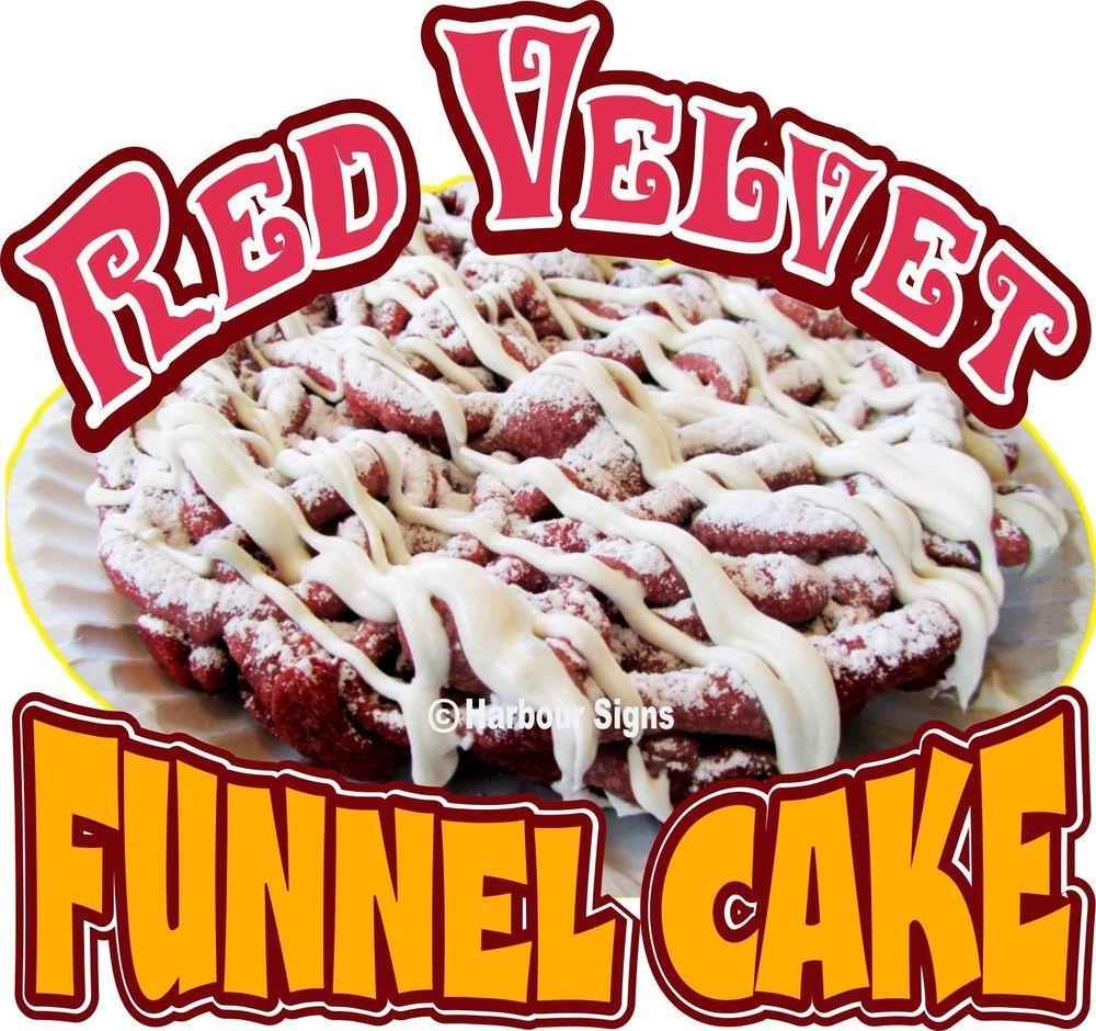 "Red Velvet Funnel Cake Decal 14"" Cakes Concession Trailer Cart Food Truck Vinyl  #Harboursigns"