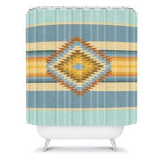 Bianca Green Fiesta Vintage Shower Curtain Tribal Navajo Eclectic Colorful