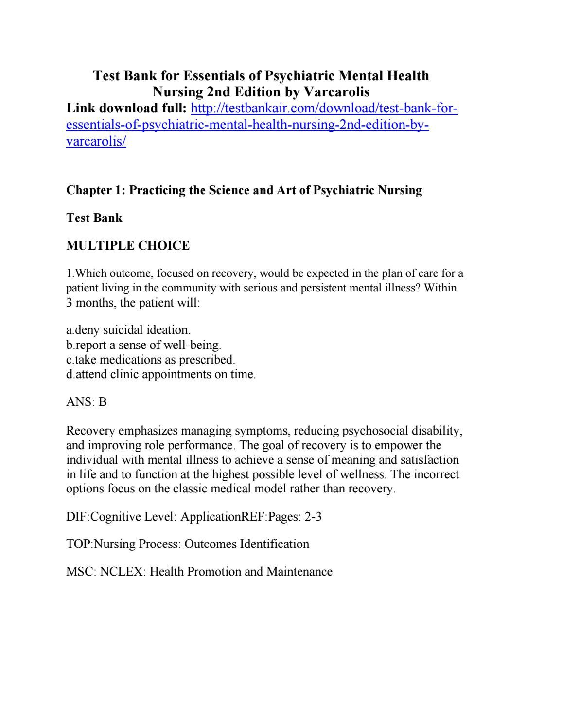 Download test bank for essentials of psychiatric mental health nursing 2nd  edition by varcarolis