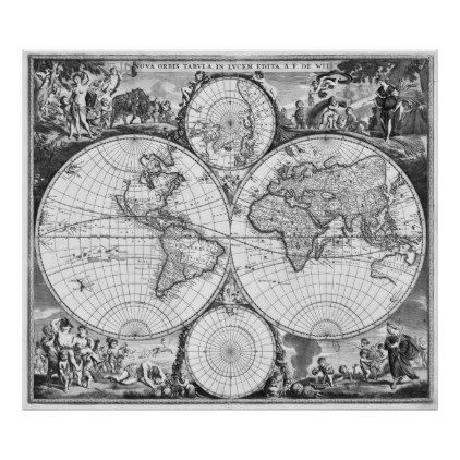 Black And White World Map Poster - Black and white vintage world map